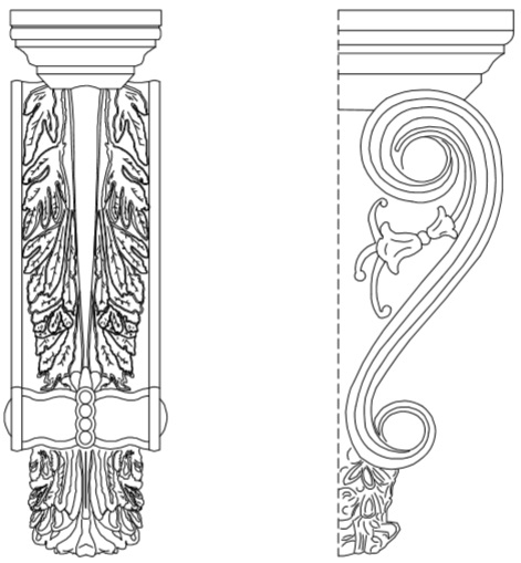 CAD Drawing of Messalina Corbel | Mesa Precast Catalog Product