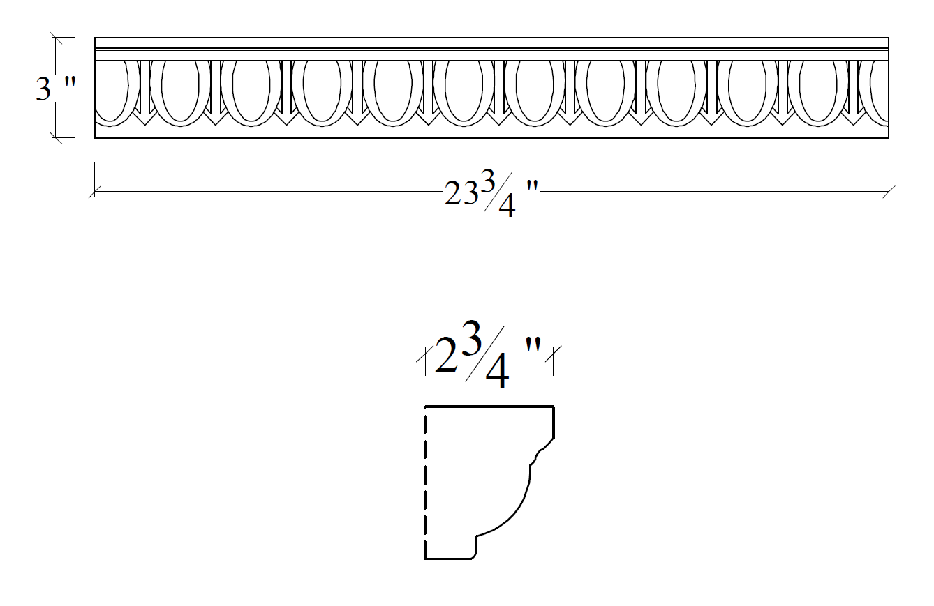 CAD Drawing for Small Egg and Dart Architectural Trim
