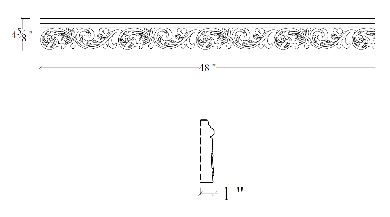 CAD Drawing of Mesa Precast Specialty Trim | Catalog Product: Vine