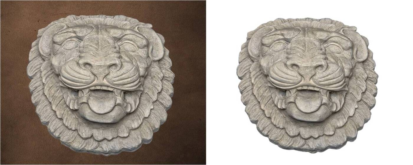 Ornamental Product - Lion Head 1 - In this image ... Grey Color, Smooth Texture