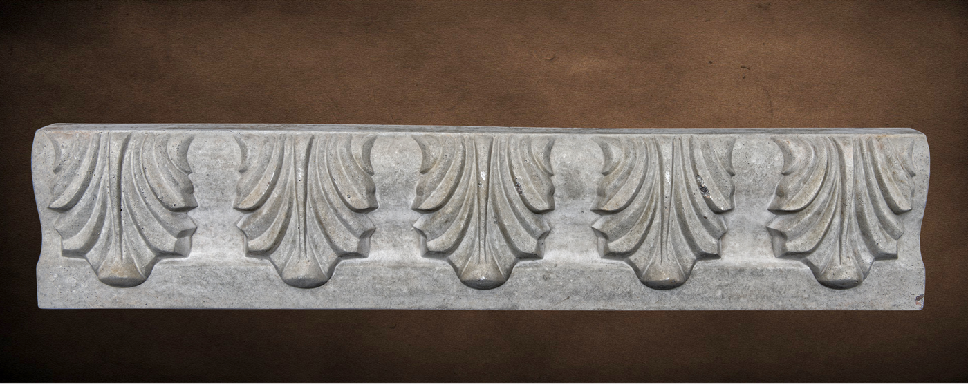 Mesa Precast Catalog Product: Specialty Decorative Trim - Venetti Leaf | In this Image - Gray Color, Smooth Finish
