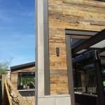 Mesa Precast |  Architectural GFRC Panels Veneer Adding Accent to Wood and Steel Elevation | Gilbert Snooze Restaurant, AZ