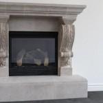 Mesa Precast | Ornate Fireplace with Graziella Corbel | Product Color: Oak Birch | Product Finish : Travartine Finish