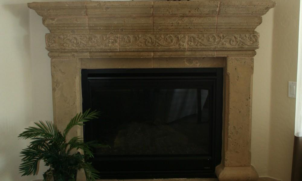 Custom Designed Fireplace with Hearth, Mantle, Architectural Trim | Mesa Precast Products: Canterbury Corbel - Egg and Dart Trim | Architectural Precast Concrete