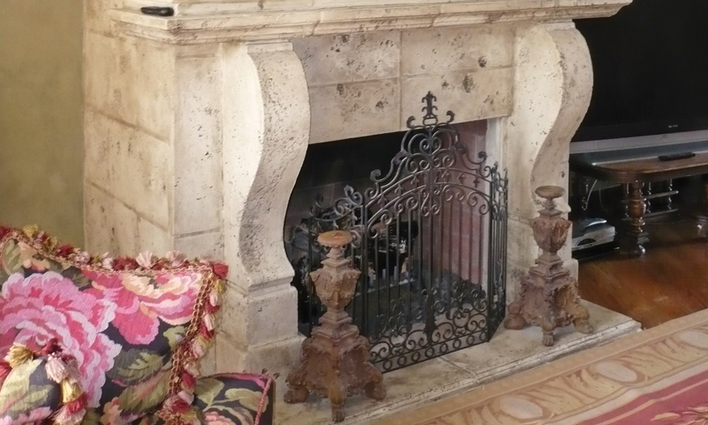 Fireplace Design using Manchester Corbel, Hycanthus Leaf Trim, Integrated Wall
