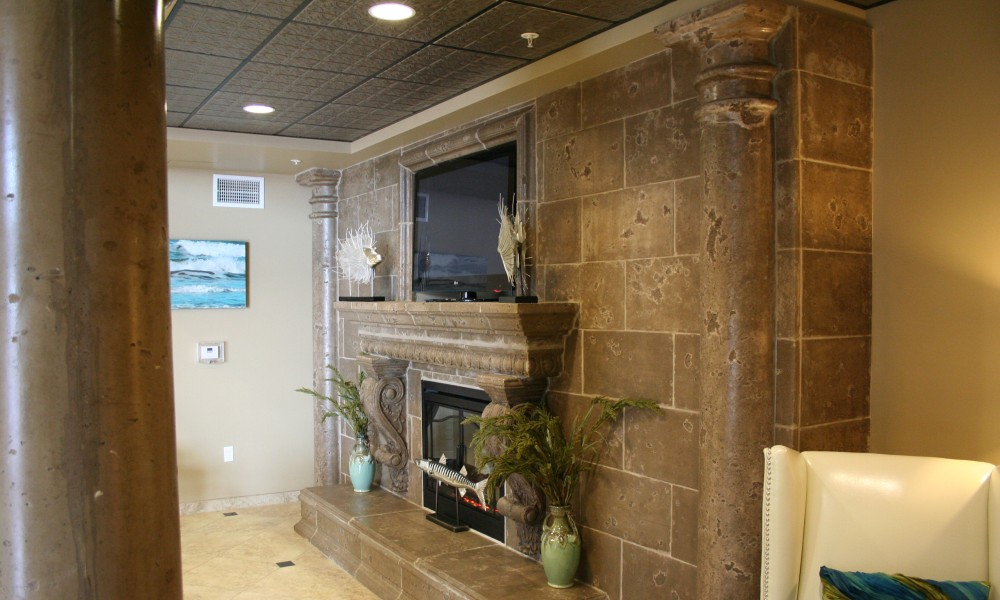 Fireplace with Integrated Wall Unit Design | Egg and Dart Trim - Graziella Corbel | Color: Anteler Tan