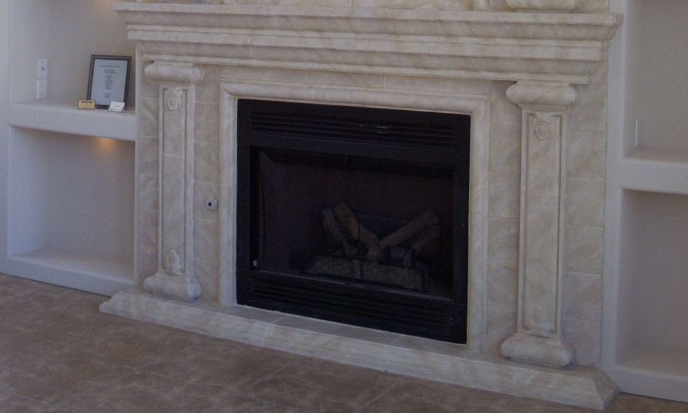 Fireplace with Faux Finish | Modular Architectural Trim using Precast Pieces, | Custom Design