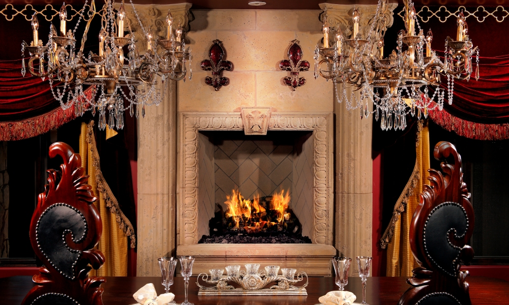 Ornate Fireplace Design for Specific Customer Design Requirement | Large Egg and Dart Trim - Fleur De Lis Keystone - Fluted Column with Corinthian Capitals