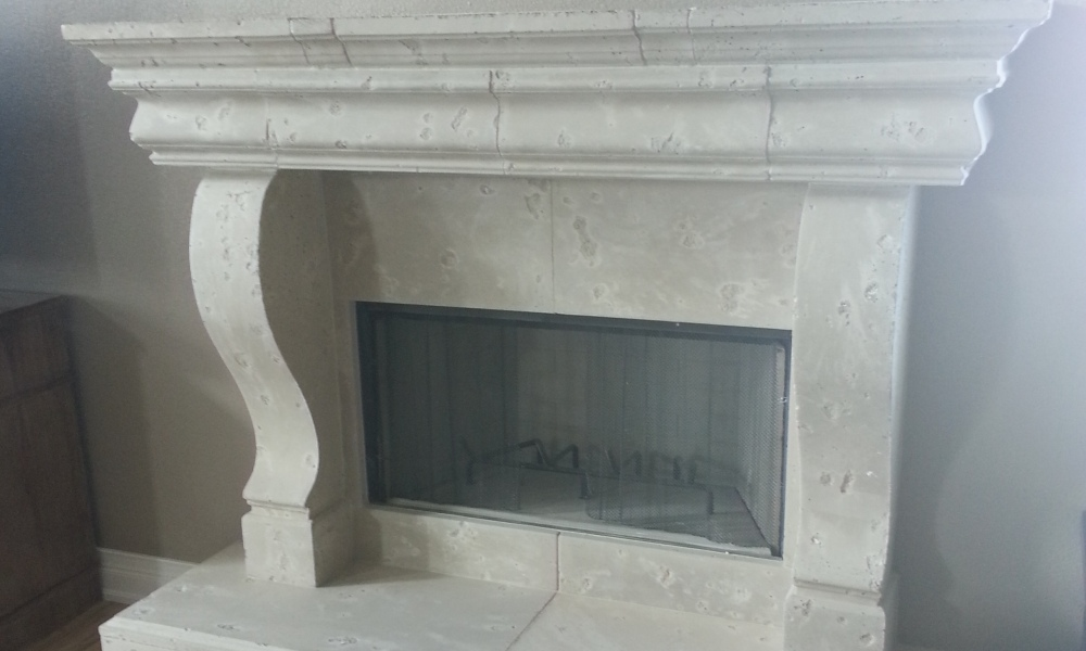 Fireplace with Manchester Corbel | Hearth and Mantle Designed with Architectural Precast Panels | Moreno Finish