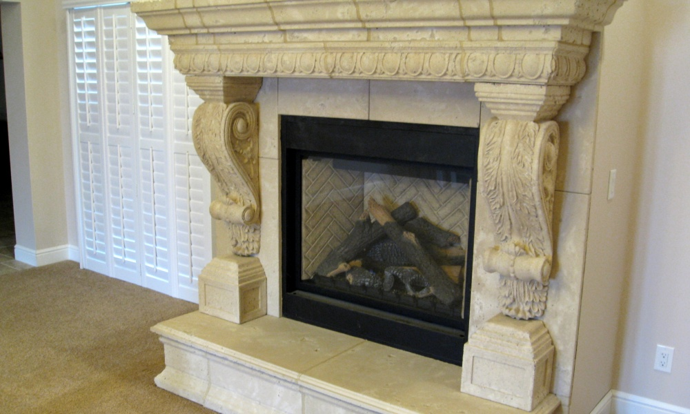 Fireplace | Canterbury Corbel | Egg and Dart Trim | Hearth, Mantle | precast concrete