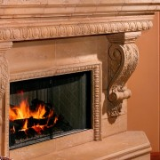 Custom Integrated Fireplace Design | Egg and Dart Architectural Trim in Two Sizes | Graziella Corbel | Precast Concrete Panels in Hearth and Mantle