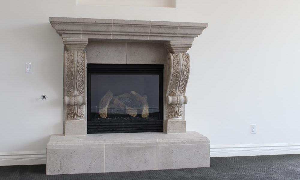 Fireplace with Graziella Corbel Legs | Travertine Finish