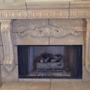 Custom Design of Fireplace using Mesa Precast Products | Architectural Trim - Large Egg and Dart Architectural Trim - Stavola Corbel legs - Catalog Ornamental Element: Cartouche