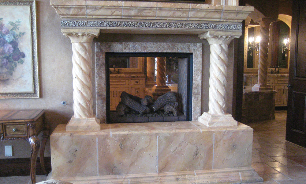 Fireplace with Faux Finish - Mesa Precast Ornamental Products - Twist Column - Floral Architectural Trim