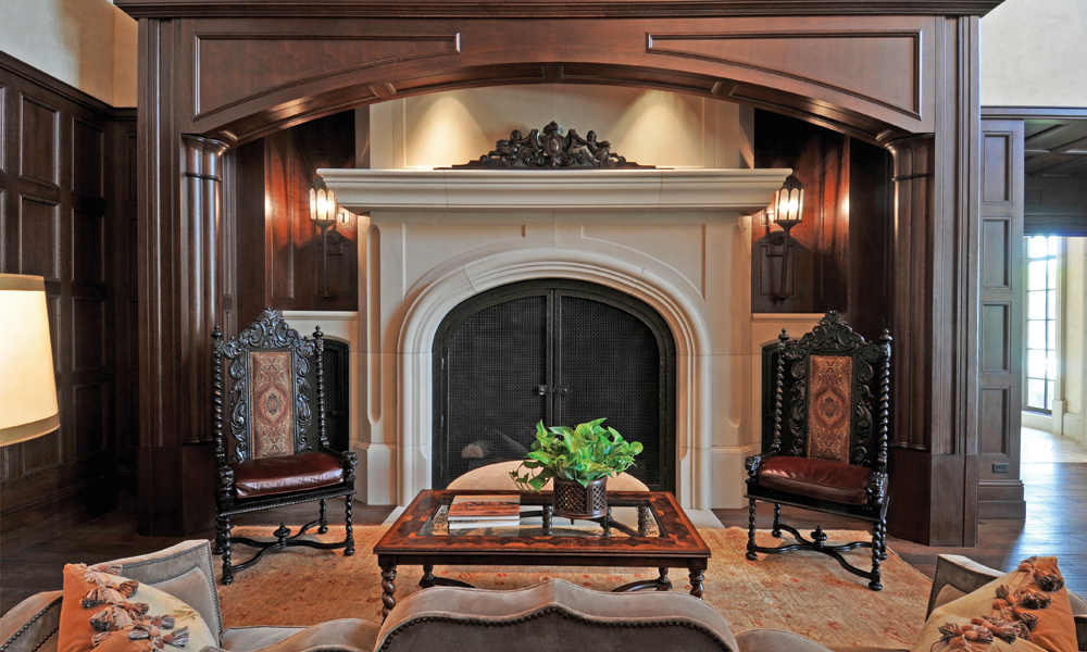 Ornate Fireplace Design using Custom Architectural Cast Stone Panels - Dallas Country Club