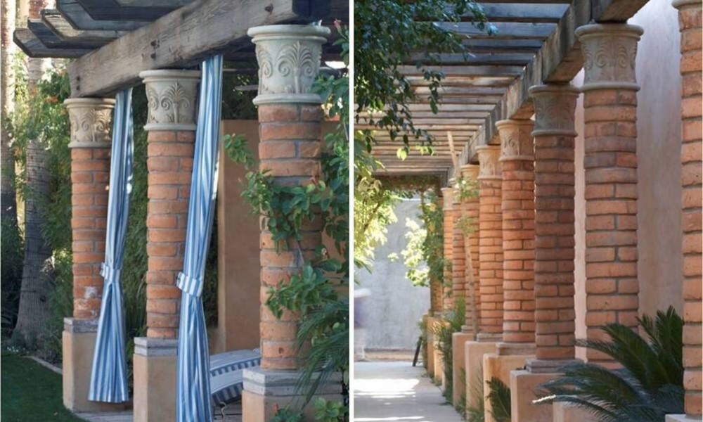 Custom Design Column Capitals and Base with Brick Design - Home and Office Decor, Hardscape Design