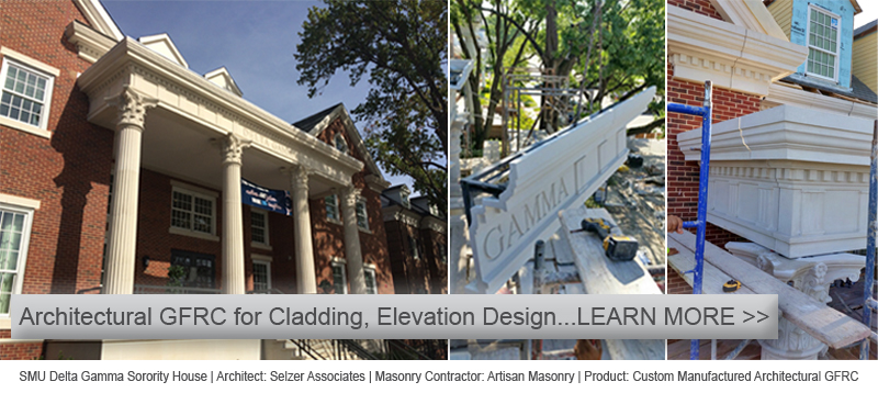 Cladding Design using Custom Architectural GFRC Panels | Fluted Columns, Corinthian Capitals, Coping, Exterior Window Surround Trims | LEARN MORE ON AAS Website