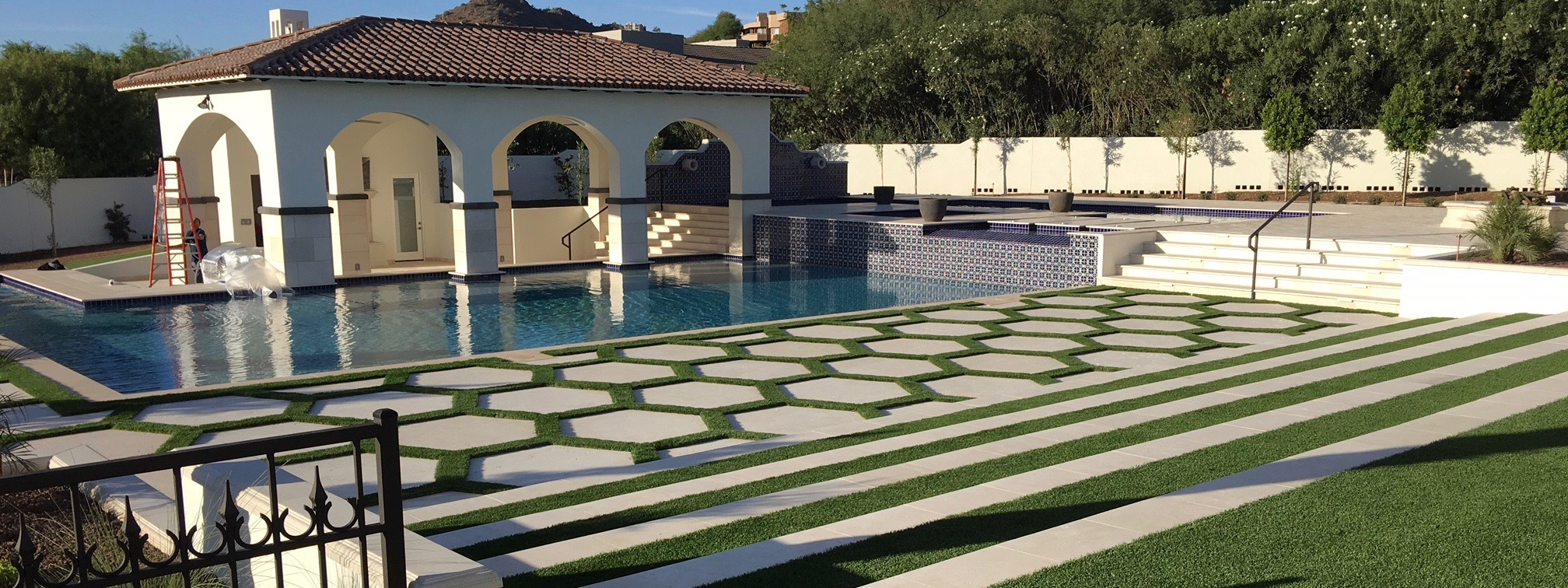 Pavers, Pool Coping, Custom Dark Color Design Accent using Manufactured Stone Panels