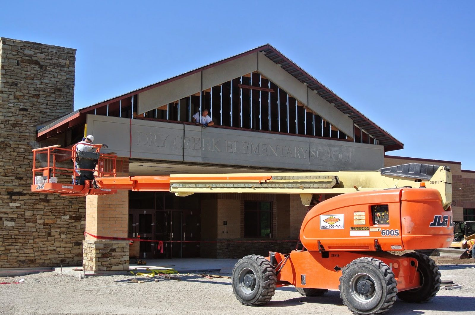 Installation of GFRC Stone Panels | Construction Site: Dry Creek Elementary School, Lehi, UT