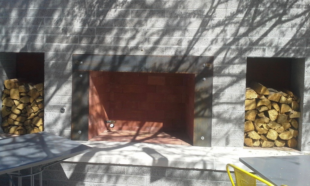 Outside Patio Fireplace at Joyride Taco Place | Custom Color Architectural Precast