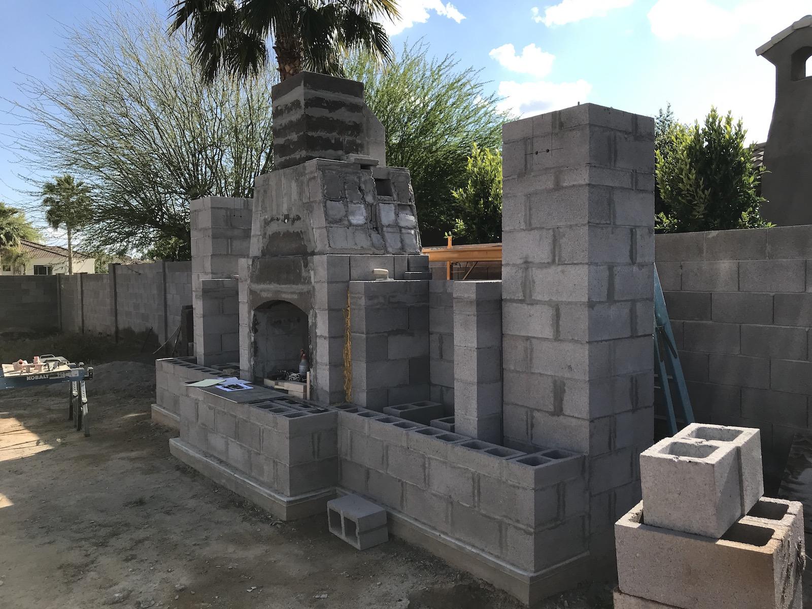 backyard fireplace - before